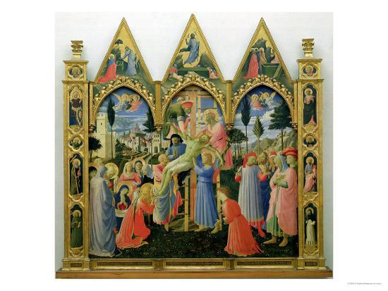 Santa Trinita Altarpiece, Frame and Pinnacles by Lorenzo Monaco Completed circa 1434-Fra Angelico-Giclee Print