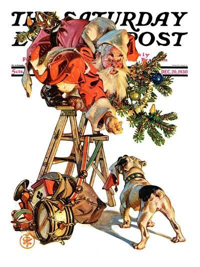 """Santa Up a Ladder,"" Saturday Evening Post Cover, December 20, 1930-Joseph Christian Leyendecker-Giclee Print"