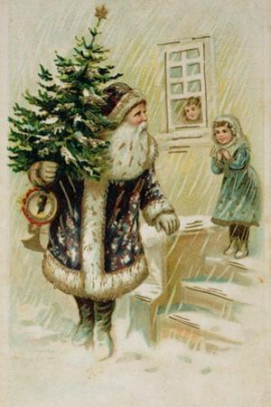 Santa with Christmas Tree, Early 20th Century Christmas Card