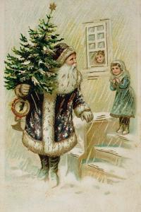 Santa with Christmas Tree, Early 20th Century Christmas Card