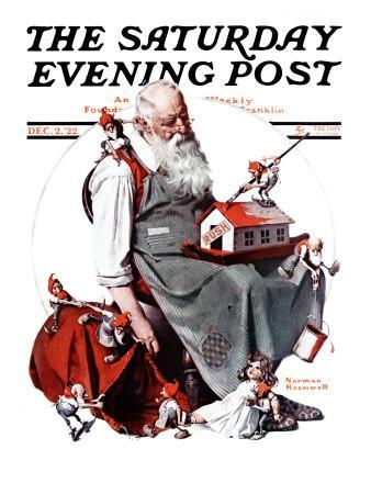 """""""Santa with Elves"""" Saturday Evening Post Cover, December 2,1922-Norman Rockwell-Giclee Print"""