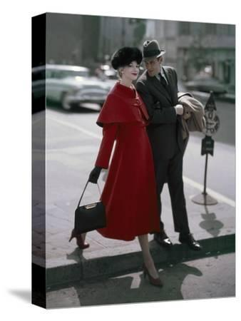 Glamour - September 1956 - Couple Stepping off of a Curb