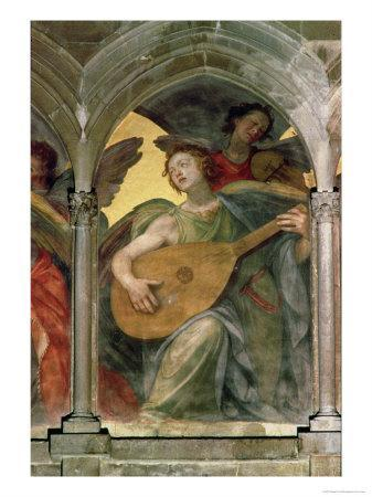 Musical Angel Within a Trompe L'Oeil Cloister, Detail of an Angel Playing a Mandolin