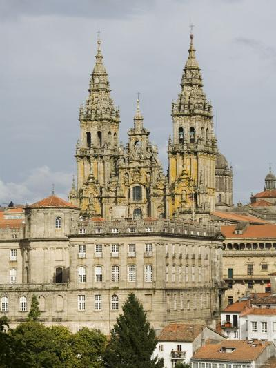 Santiago Cathedral with the Palace of Raxoi in Foreground, Santiago De Compostela, Spain-R H Productions-Photographic Print