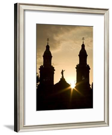 Santiago, Chile. Metropolitan Cathedral in Plaza De Armas and New Office Tower-Richard Nowitz-Framed Photographic Print