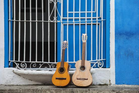 Santiago De Cuba Province, Historical Center, Calle Heredia, Guitars by Balcony-Jane Sweeney-Photographic Print