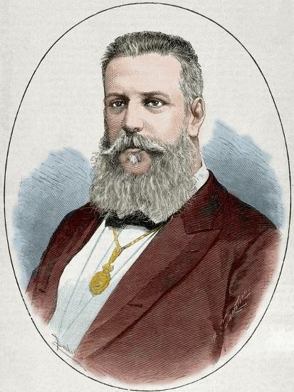 Santiago Estrada (1841-1891). Writer and Journalist. Engraving. Colored.-Tarker-Photographic Print