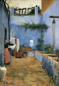 The Blue Courtyard by Santiago Rusinol