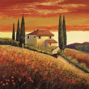 Sunset Over Tuscany II by Santo De Vita