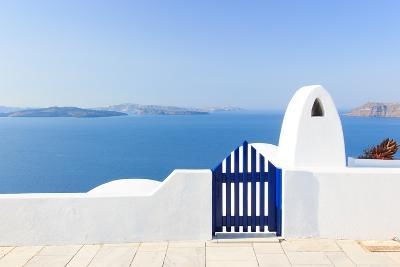 Santorini Balconny with View at the Aegean Sea-Netfalls-Photographic Print