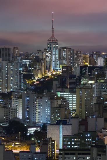 Sao Paulo Skyline at Night, Brazil.-Jon Hicks-Photographic Print