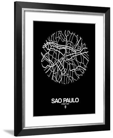 Sao Paulo Street Map Black-NaxArt-Framed Art Print