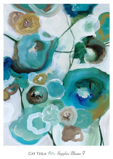 Sapphire Blooms I-Cat Tesla-Art Print