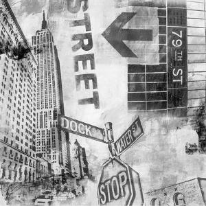 New York Intersection B&W by Sara Abbott