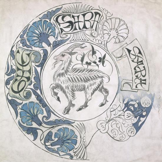 sara', Circular Design with Goat (Gouache and Pencil on Paper)-William De Morgan-Giclee Print