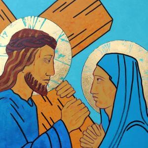 Jesus meets his mother by Sara Hayward