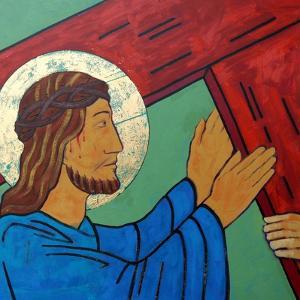 Jesus takes up his cross by Sara Hayward