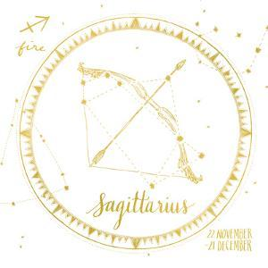 Night Sky Sagittarius White and Gold by Sara Zieve Miller