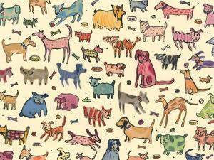 46 dogs, 2017, ink and collage by Sarah Battle