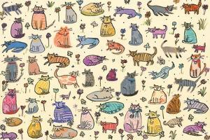 52 Cats, 2017, ink and collage by Sarah Battle