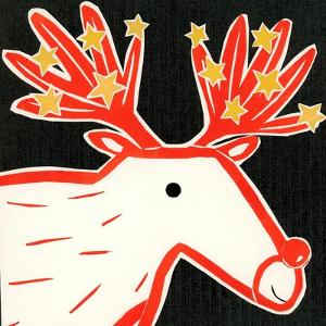 Christmas reindeer 2019 collagraph collage by Sarah Battle