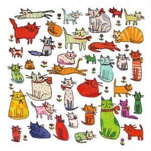 Thirty eight cats, 2018,mono print, collage by Sarah Battle
