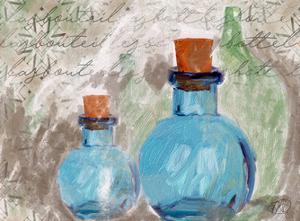 Blue Glass Bottles by Sarah Butcher