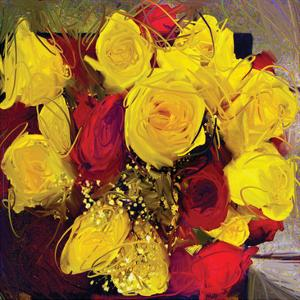 Yellow And Red Roses by Sarah Butcher