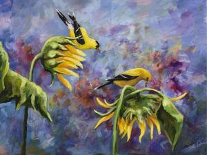 Finches with Sunflowers by Sarah Davis