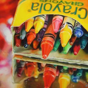 Andy's Crayons  2014  (oil on canvas) by Sarah Graham