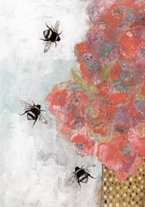 3 Bees and Orange Flower by Sarah Ogren
