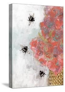 3 Bees and Orange Flower by Sarah Ogren