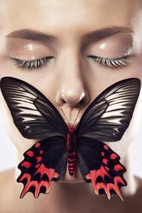Beauty Composing Picture with Butterare Flying, Black-And-White Red, Eyes Closed, Nude Like by Sarah-Rebekka Hoffmann