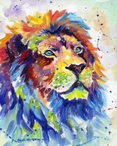 Colorful African Lion by Sarah Stribbling