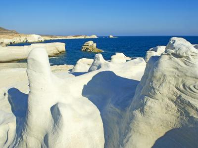 Sarakiniko Lunar Landscape, Sarakiniko Beach, Milos, Cyclades Islands, Greek Islands, Aegean Sea, G-Tuul-Photographic Print