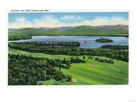Saranac Lake, New York - Aerial View of Saranac Inn Golf Course and Mountains-Lantern Press-Art Print