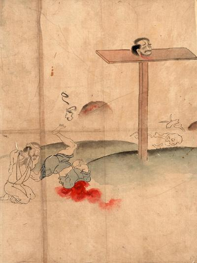 Sarasikubi No Zu, Beheading. with Blood Gushing from the Neck; a Bound Prisoner Kneels Nearby--Giclee Print