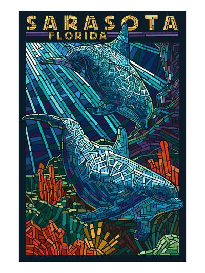 Sarasota, Florida - Dolphin Paper Mosaic-Lantern Press-Art Print