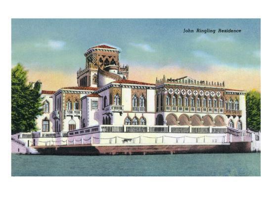 Sarasota, Florida - Exterior View of the John Ringling Mansion, c.1947-Lantern Press-Art Print