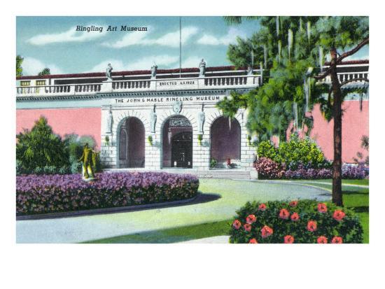 Sarasota, Florida - Exterior View of the Ringling Art Museum, c.1947-Lantern Press-Art Print