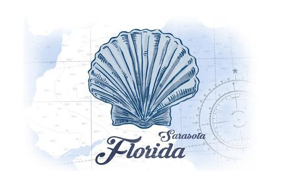 Sarasota, Florida - Scallop Shell - Blue - Coastal Icon-Lantern Press-Art Print