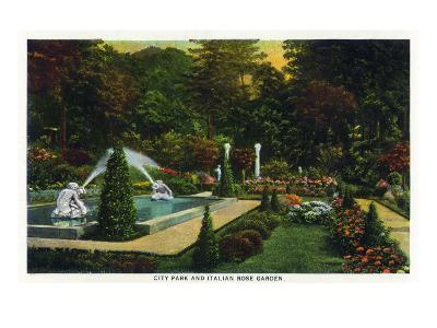 Saratoga Springs, New York - City Park Scene of the Italian Rose Garden, c.1914-Lantern Press-Art Print
