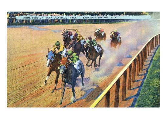 Saratoga Springs, New York - Home Stretch on the Track-Lantern Press-Art Print