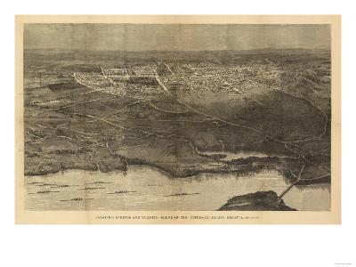 Saratoga Springs, New York - Panoramic Map-Lantern Press-Art Print