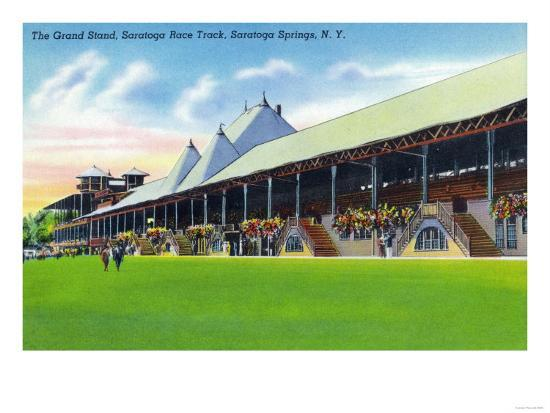 Saratoga Springs, New York - Racegrounds View of the Grand Stand at Track-Lantern Press-Art Print