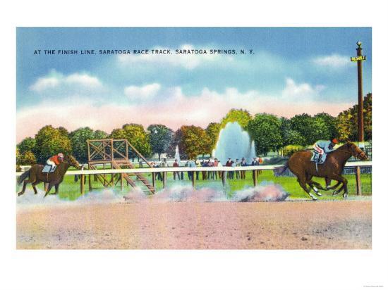 Saratoga Springs, New York - Saratoga Race Track Finish Line View-Lantern Press-Art Print