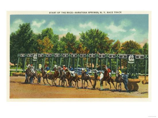 Saratoga Springs, New York - Saratoga Race Track Starting Line View-Lantern Press-Art Print
