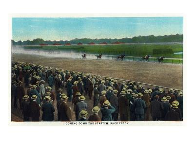Saratoga Springs, New York - View of Horses Racing Down the Race Track Stretch, c.1914-Lantern Press-Art Print