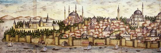 Sarayburnu, Seraglio Point, Hagia Sophia, the Blue Mosque and Topkapi Palace, late 16th century--Giclee Print