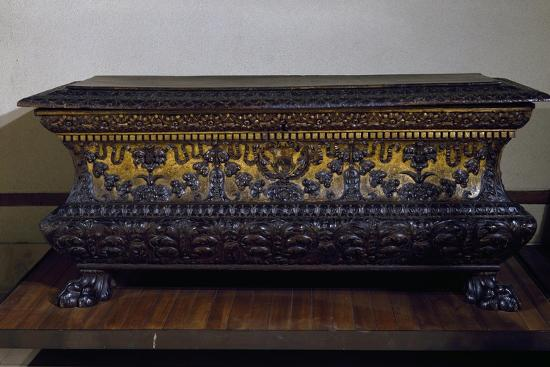 Sarcophagus Form Wedding Chest in Golden Walnut with Lions Claw Feet, Made in Rome, Italy--Giclee Print